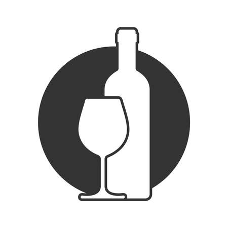 Wine bottle and glass graphic icon. Wine production sign in the circle isolated on white background. Vector illustration