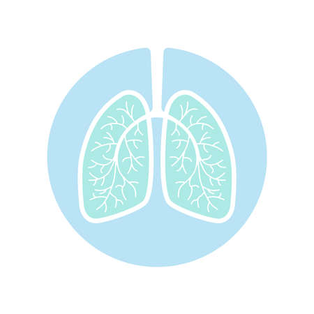 Lungs human graphic icon. Human lungs sign in the circle isolated on white background. Vector illustration