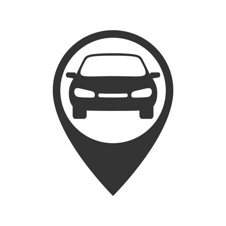Map pointer with car graphic icon. Rent a car sign isolated on white background. Symbol of car sharing. Vector illustration 向量圖像