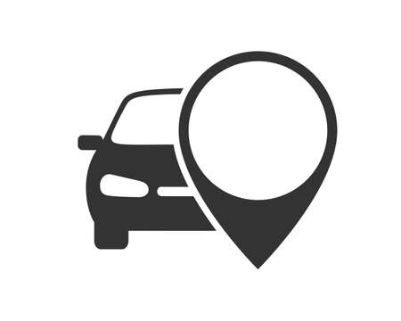 Car with map pointer graphic icon. Rent a car sign isolated on white background. Symbol of car sharing. Vector illustration 向量圖像