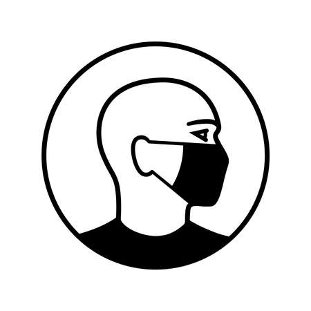Man wearing medical mask graphic icon. Man in medical mask sign in the circle isolated on white background. Vector illustration