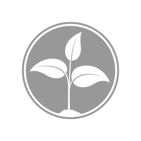 Sprout graphic icon. Young plant growing in the ground sign in the circle isolated on white background. Seedling symbol. Vector illustration