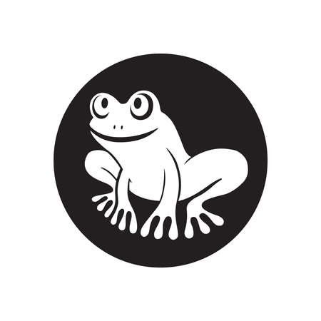 Frog graphic icon. Frog sign in the circle isolated on white background. Vector Illustration 向量圖像