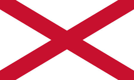 Saint Patrick's saltire. Northern Ireland symbol with official colors and the aspect ratio of 3: 5. Vector illustration 向量圖像