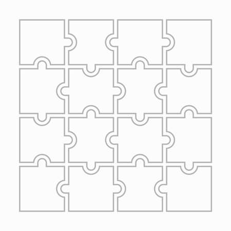 Sixteen blank puzzle pieces. Puzzle for web, information or presentation design, infographics. White puzzle on white background. Vector illustration 向量圖像