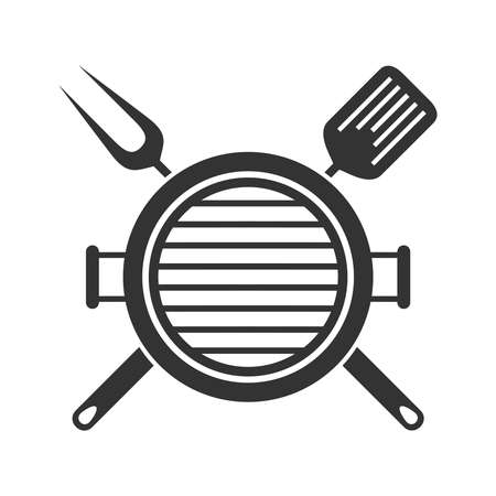 Grill or bbq menu graphic design template. Symbol isolated on white background. Vector illustration 向量圖像
