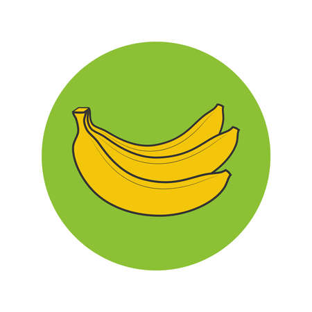 Bananas bunch graphic icon. Bananas sign in the circle isolated on white background. Vector illustration 向量圖像