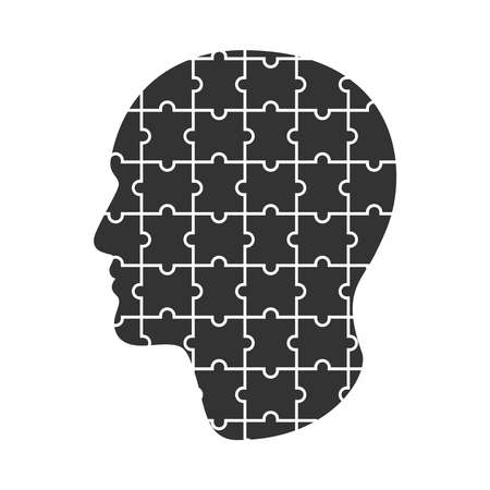 Head man done from puzzles. Male profile graphic sign isolated on white background. Man collected from puzzle. Vector illustration