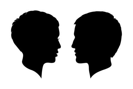Man and woman heads silhouettes.