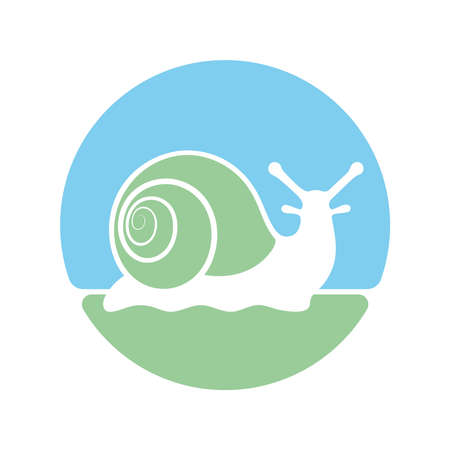 Snail graphic icon. Snail symbol in the circle isolated on white background. Logo. Vector illustration 向量圖像