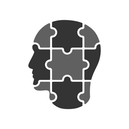 Man head from puzzles. Male profile graphic sign isolated on white background. Man collected from puzzle. Vector illustration