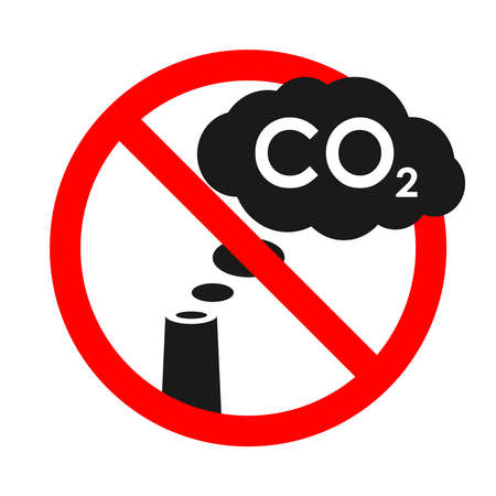 Symbol prohibited cloud CO2 from chimney. Warning banner no industrial emissions. Sign isolated on white background. Vector illustration