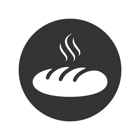 Hot loaf graphic icon. Sign of loaf in the circle isolated on white background. Bakery symbol. Vector illustration