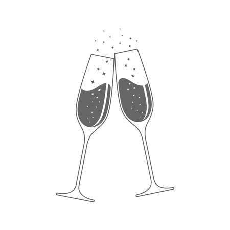 Clink glasses champagne graphic icon. Cheers with two champagne glasses sign isolated on white background. Vector illustration