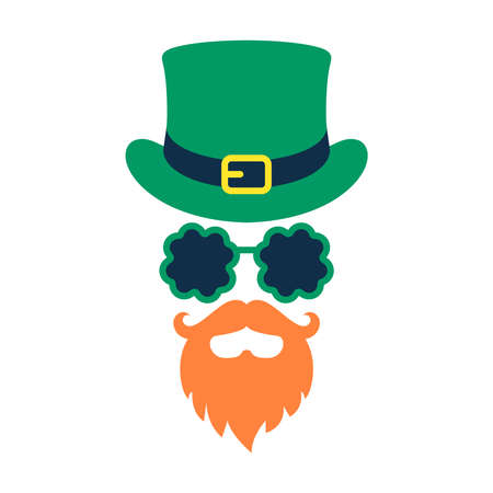 Saint Patrick mask graphic icon. Top hat, beard and glasses sign isolated on white background. St. Patrick's day symbol. Vector illustration 向量圖像
