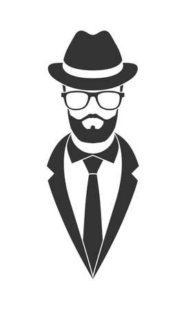 Person graphic icon. Unknown man in glasses with beard in suit and necktie and hat. Graphic sign isolated on white background. Vector illustration