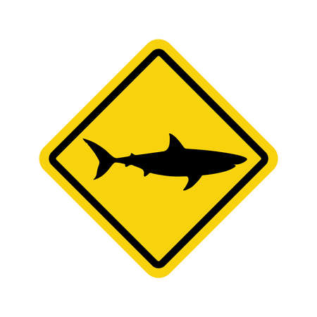 Warning graphic sign caution sharks. Yellow square with black silhouette shark isolated symbol on white background. Vector illustration
