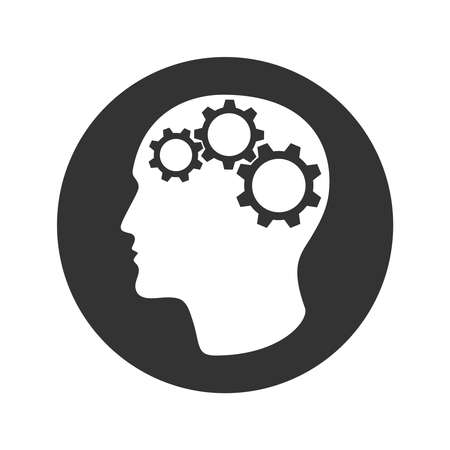Person head with gears graphic sign. Idea search and making a decision symbol. Business concept. Vector illustration 向量圖像