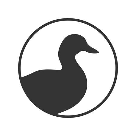 Duck graphic icon. Duck sign in the circle isolated white background. Vector illustration 向量圖像