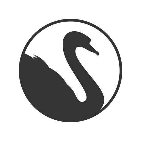 Swan graphic icon. Swan sign in the circle isolated white background. Logo bird. Vector illustration