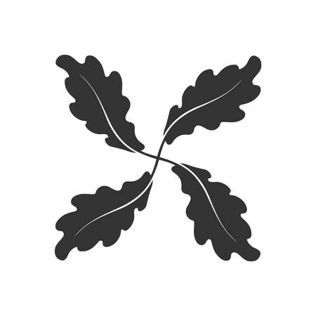 Oak leaves graphic icon. Oak leaves sign isolated on white background. Flat style. Pictogram for web graphics. Vector illustration