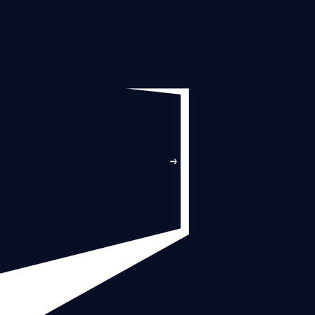 Door from dark room graphic icon. Bright light from the open door. Vector illustration