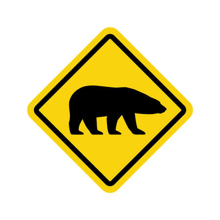 Warning graphic sign caution bears. Yellow square with black silhouette polar bear isolated symbol on white background. Vector illustration