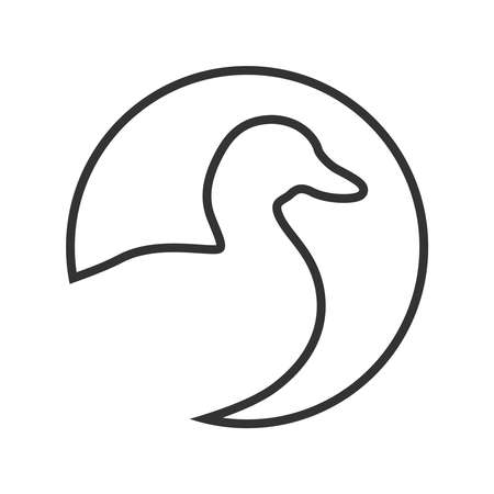 Duck graphic icon. Duck sign in the circle isolated white background. Logo bird. Vector illustration
