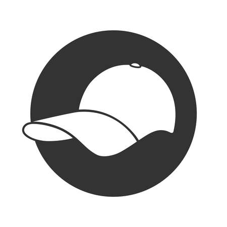 Baseball cap graphic icon. Baseball cap sign in the circle isolated on white background. Vector illustration 向量圖像