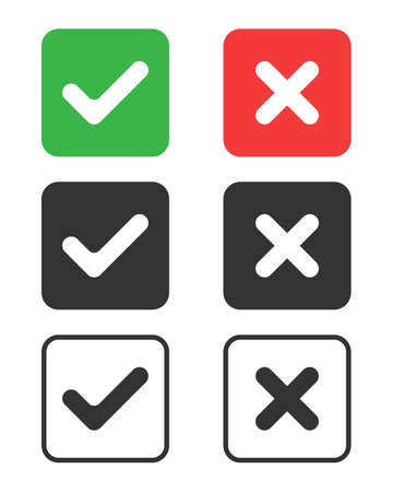 Check mark icons set. Tick and cross symbols. Buttons with checkmark and cross. Marks isolated on white background. Vector illustration 向量圖像