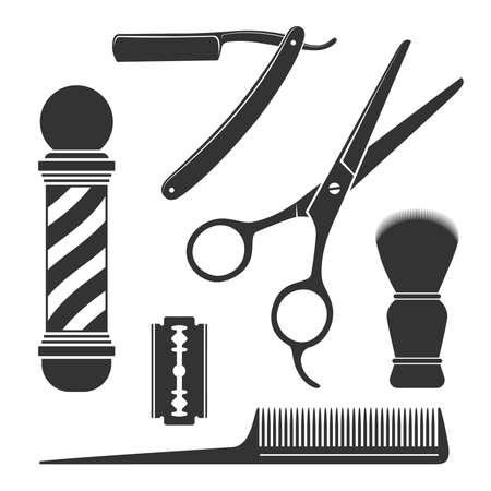 Barbershop symbols. Barber tools graphic icon set. Scissors, straight razor, comb, shaving brush, blade, barber pole. Signs isolated on white background. Vector illustration