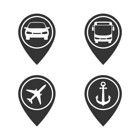 Map pointers with transportation graphic icons set. Car rent or taxi, bus stopped, airport and seaport signs set isolated on white background. Vector illustration Ilustración de vector