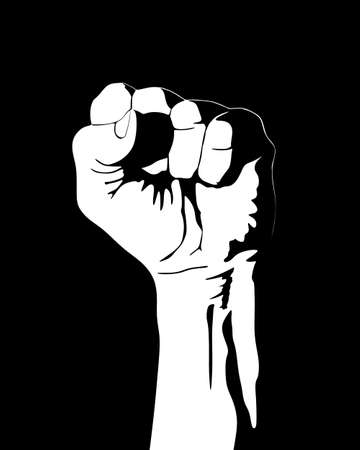Clenched fist vector in black and white Vector