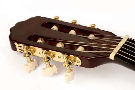 keyboard instrument: Acoustic guitar neck close up
