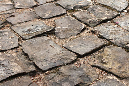 Cobblestone pavement perspective view photo