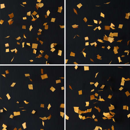 Yellow papers falling with wavy anthracite background set