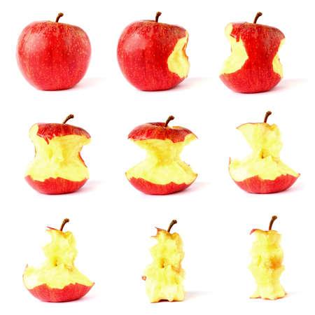 Apple whole to cracked frame set isolated on white Stock Photo