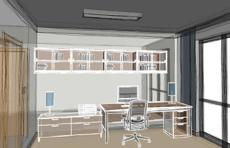 Abstract 3d illustration of a home-office work area with transparent walls and white outlined furniture drawing. Scene looking from left corner.