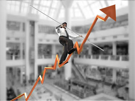 investor:  Businessman on a finance graphic aiming for the top