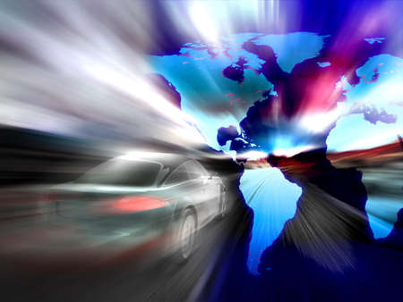 Fast car moving with motion blur Stock Photo