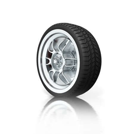 pneumatic tyres: Isolated wheel on white background