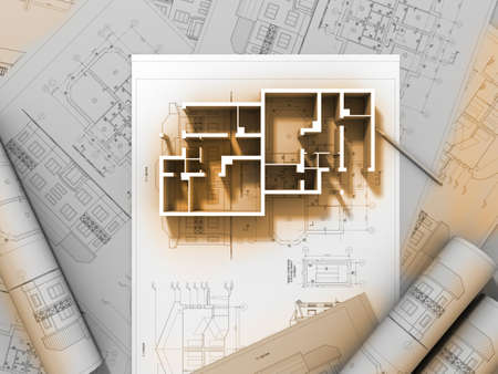 3D plan drawing  Stock Photo - 7324995