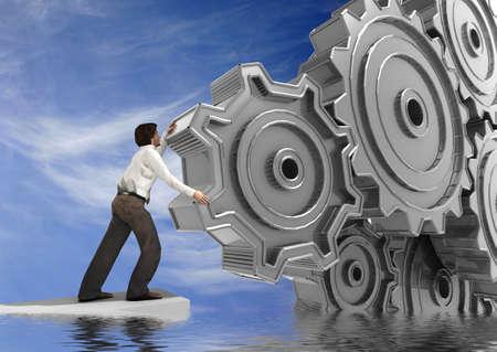 precision: Businessman Turning a Gear