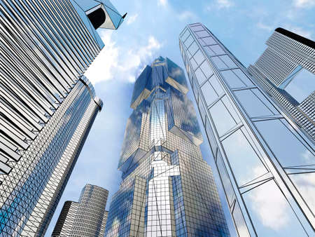 Corporate buildings in perspective photo