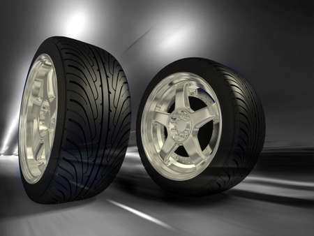 Two sports wheels slide on road Stock Photo - 7324879