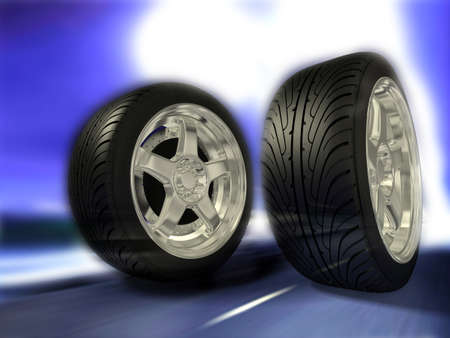 Two sports wheels slide on road Stock Photo - 7324810