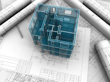 Modello basetta sperimentale di un edificio fatto sotto disegni