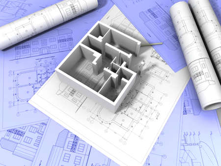 architectural drawings: 3D plan drawing