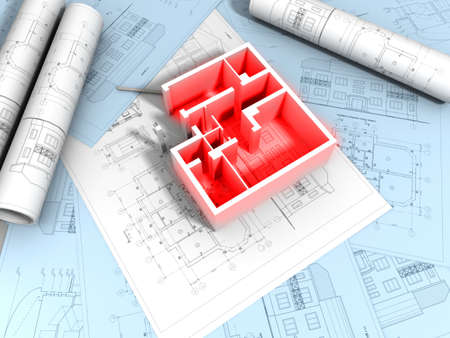3D plan drawing  Stock Photo - 7325135