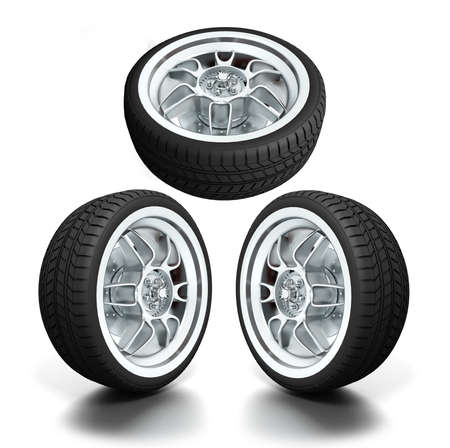 Isolated wheels on white background Stock Photo - 7345815
